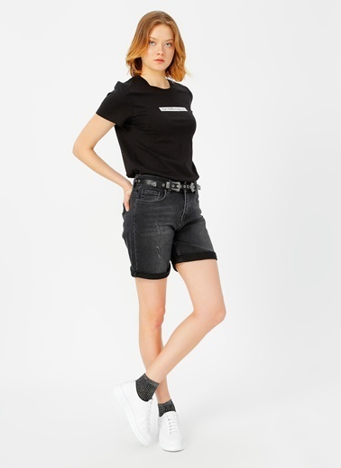 Only Only Siyah Baskılı T-Shirt Siyah